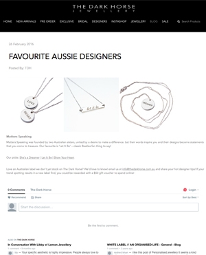 THE DARK HORSE | 'FAVOURITE AUSSIE DESIGNERS'