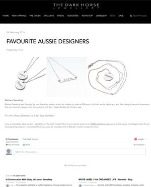 THE DARK HORSE | 'FAVOURITE AUSSIE DESIGNERS'