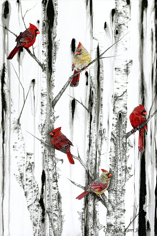 Cardinals and Birch Tree
