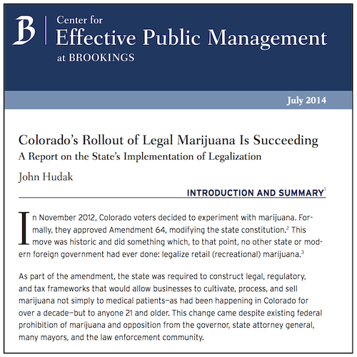 The non-partisan Brookings Institute says that the implementation of regulations and taxes on marijuana in Colorado is succeeding.