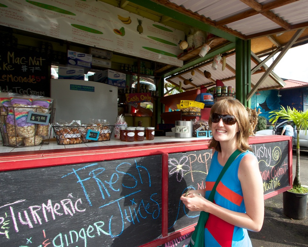 Buying a Coconut at the Aloha Juice Bar in Hanalei