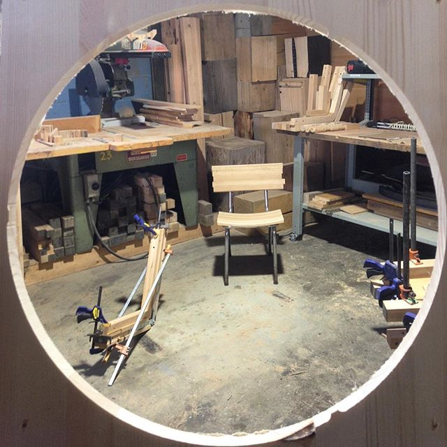 My chair sitting empty. #porthole #wood #design #glimpse #woodworking #shoplife #eastvan #local #corner #circle