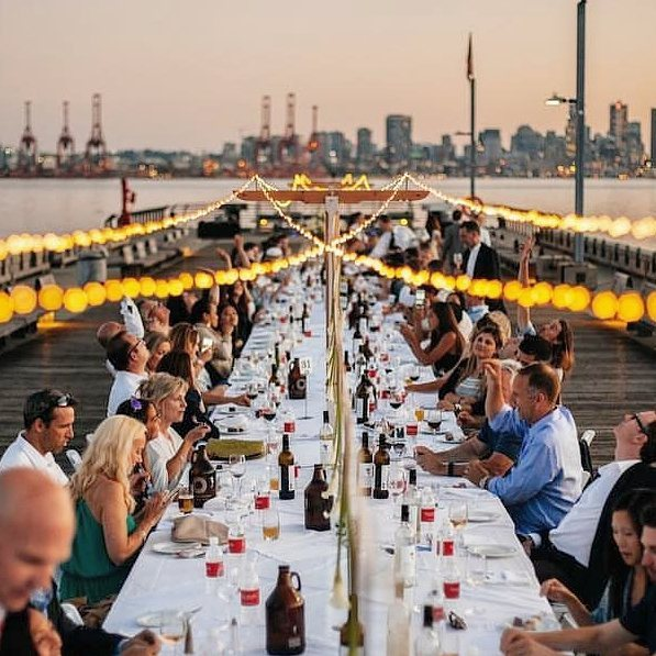 Daly Co. and @spacetospace_co are back at it again this year with a new setup for @dinneronthepier. Get your tickets for this Thursday if you want to experience this super fun evening event.  #BCmade #douglasfir