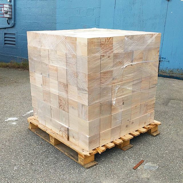 "Sup Hemlock. We see you. 6""x6"" cubes going into a reception desk at 312 Main.  #Sungrown #BCwood #BCmade"