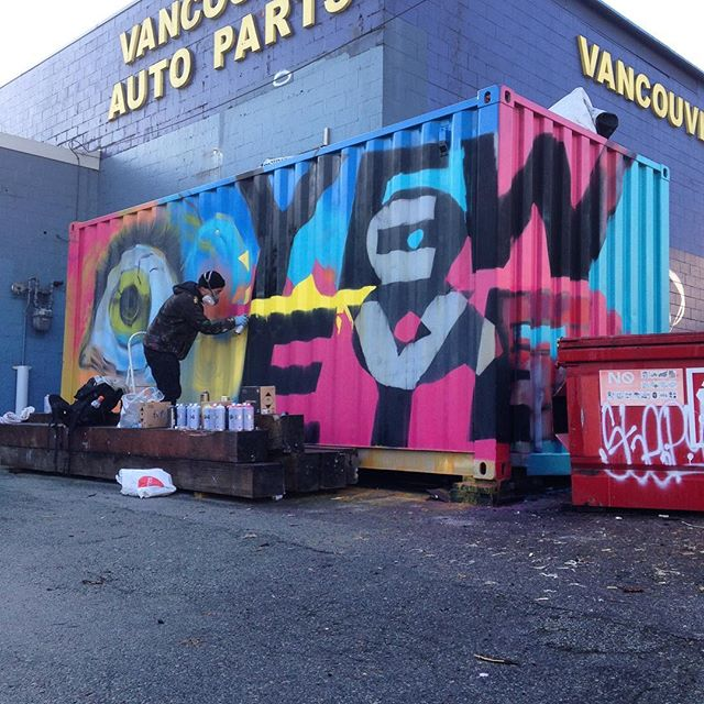Our container got a major facelift today bringing some much needed colour into our lives. Thank you so much @amorle_design for push to get this done and to @brotherjopa for help with the execution! #grateful #collaboration #art #graffitiart #eastvan #yew&eye