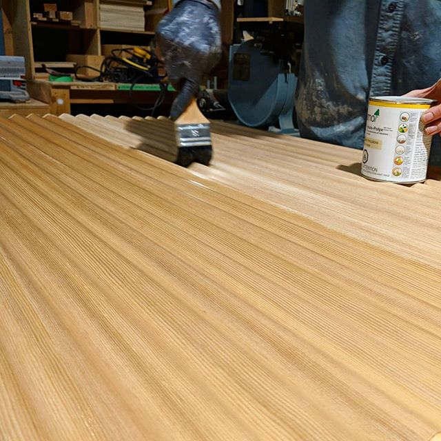 Finishing up some quartersawn BC Hemlock Corelam with @osmocanada going into a desk design on Granville Island.  #Sungrown #BCWood #BCmade