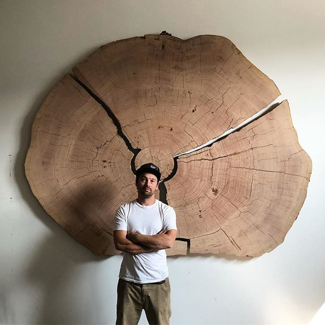 I think it's about 800 years old but I haven't really counted.  #Douglasfir #giant #endgrain #logging #history #rare #art #design #wood