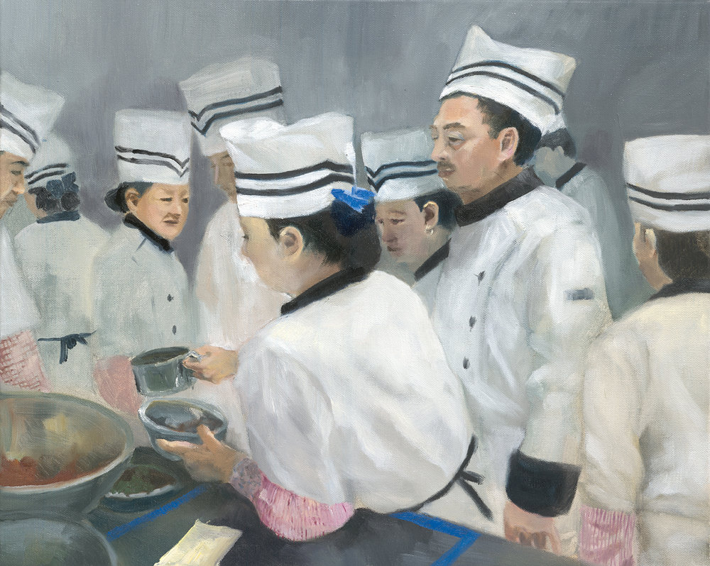 "Cooks Eating, 2017, 16""x20"",  Oil on Canvas"