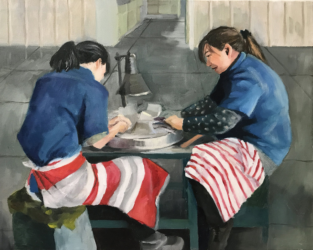 "The Polishers, 2017, 16""x20"",  Oil on Canvas"