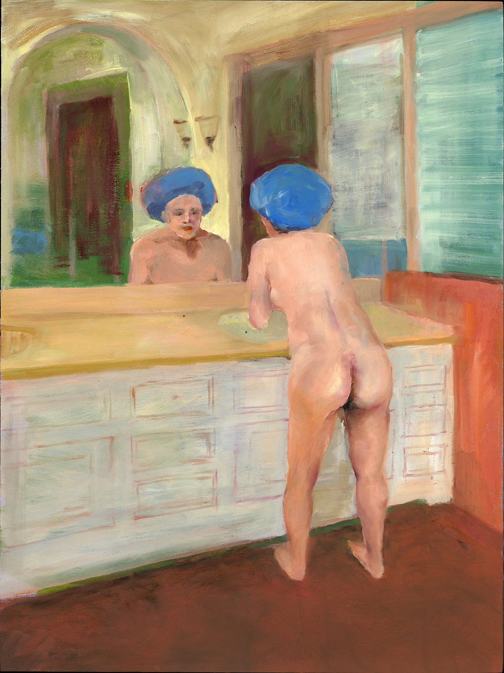 "The Showercap, 2017, 18""x24"", Oil on Panel"