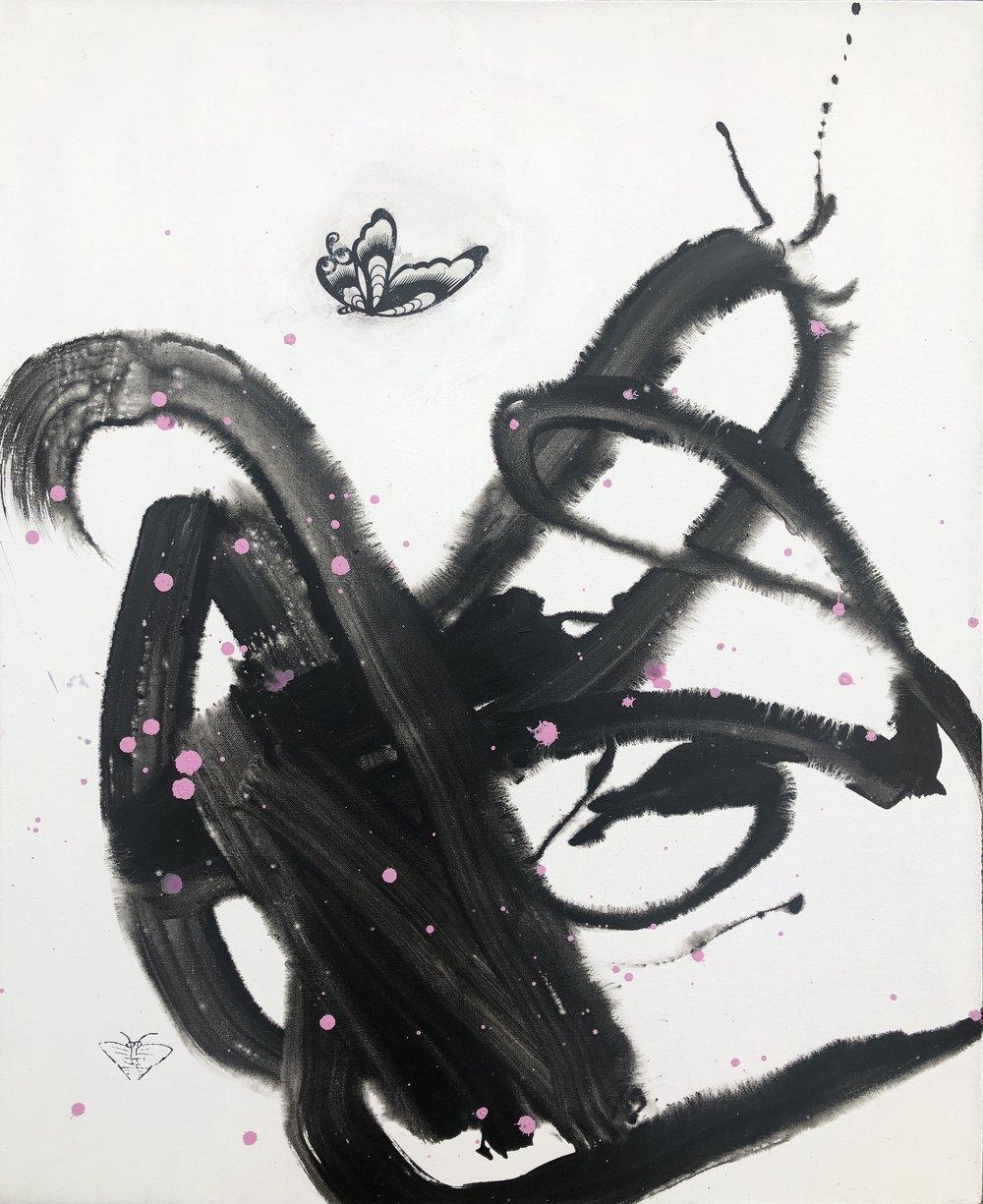"Solitude , Mixed Media on Canvas, 43""x35"" 2018"