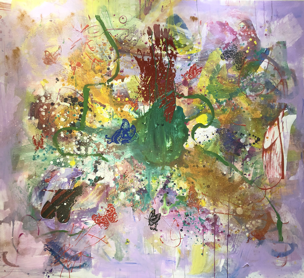 "Frolic , Mixed Media on Canvas, 79""x87"", 2018"