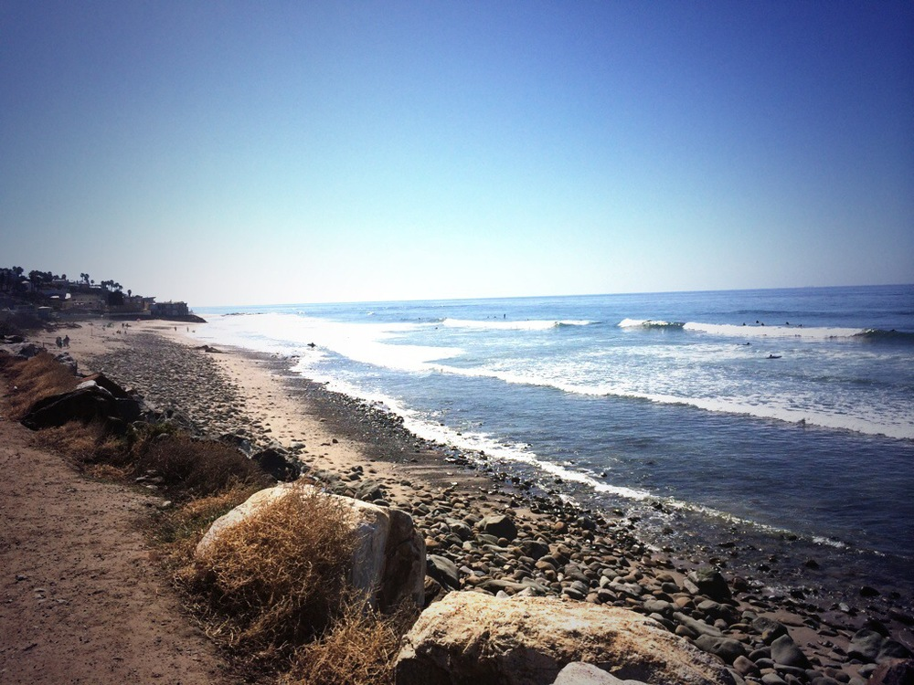 Rocky beaches off the coast of Malibu.