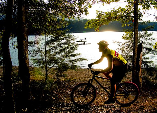 Mountain biking and kayaking at Carvin's Cove.