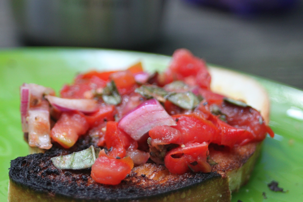 Bruschetta a la cast iron; a colorful morning delight.