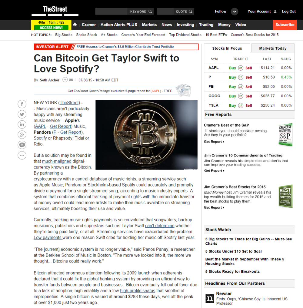 Can Bitcoin Get Taylor Swift to Love Spotify?