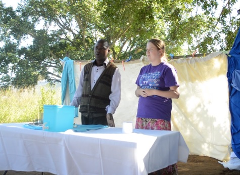 Kayla sharing her testimony to a small church in the community
