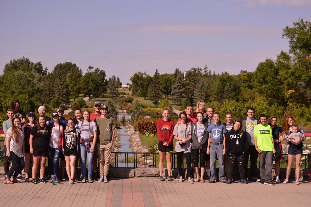 Visited the International Peace Gardens! Left side is Team B in America & the right side is Team C in Canada!