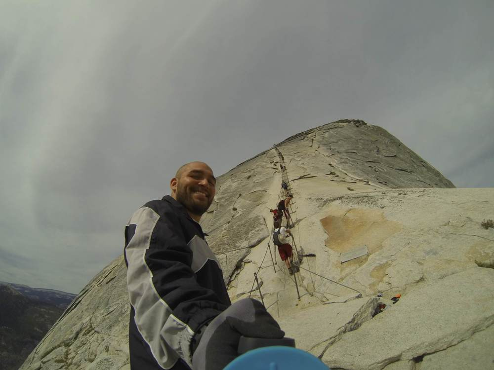 Climbing half dome in Yosemite