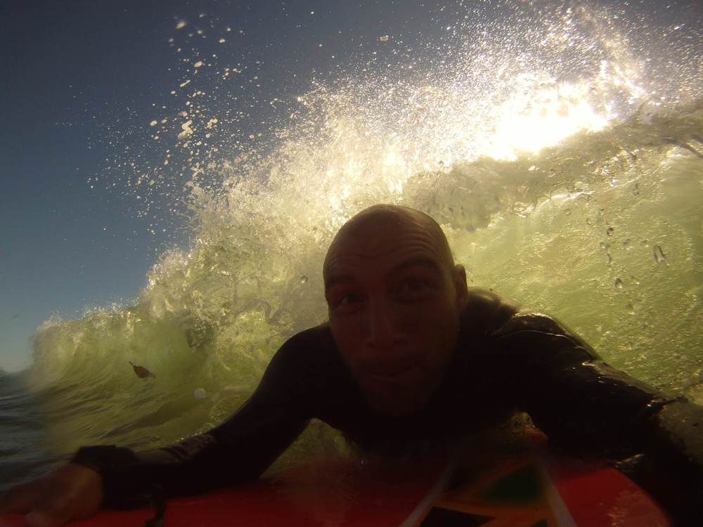 Boogie boarding in Santa Cruz