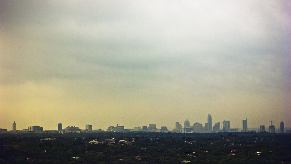 A hazy view of the Austin,TX skyline yesterday morning.