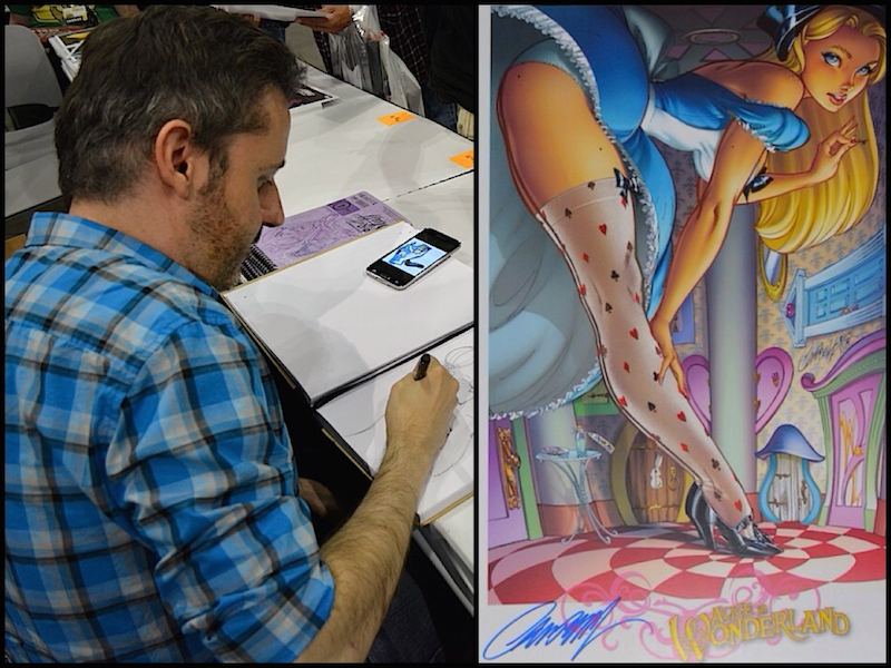 Left: J. Scott Campbell having a little doodle. Right: Our signed copy of sexy Alice.  © West of The Rockies