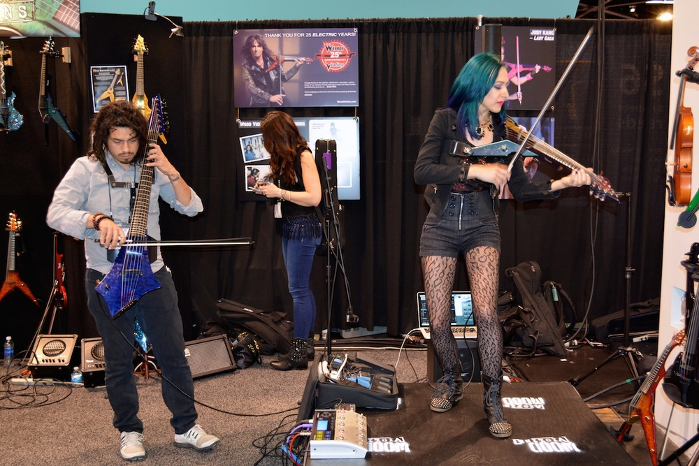 Rockin' out at the  Wood Violins  booth, NAMM 2015