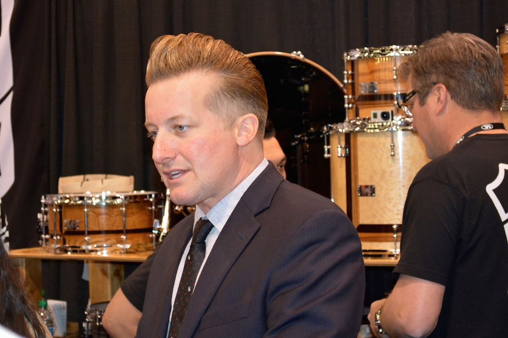 Tré Cool being très cool, NAMM 2015.