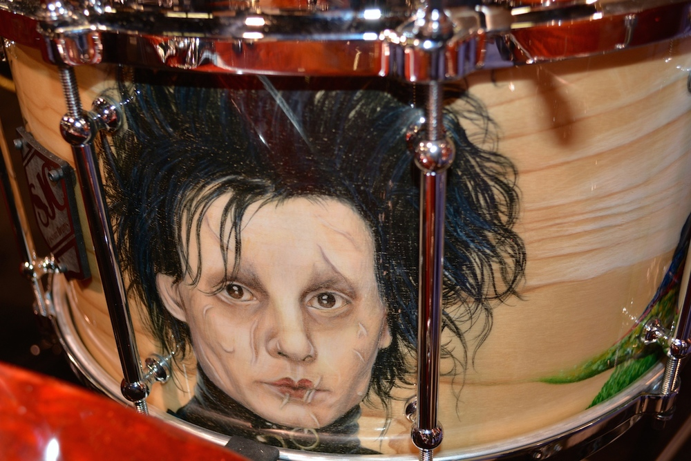 We found Edward at the SPJ Custom Drums shop. NAMM 2015. ©WoTR Radio