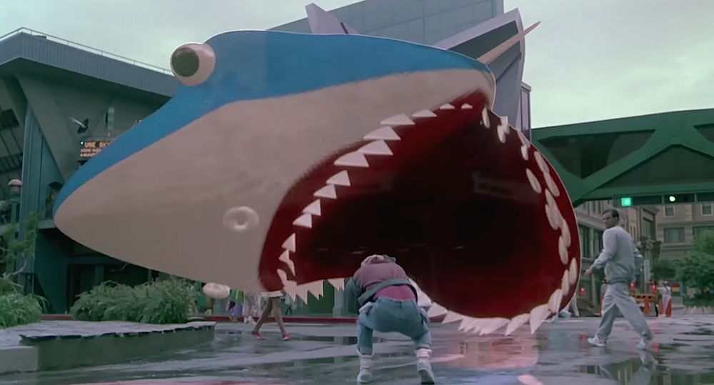 "The promotional holo-shark, advertising the   ""Holofilm,""  Jaws 19 ."