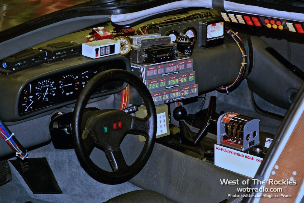 A view into the DeLorean, as seen at  Comikaze 2014 . Supplied by  The Hollywood SciFi Museum.