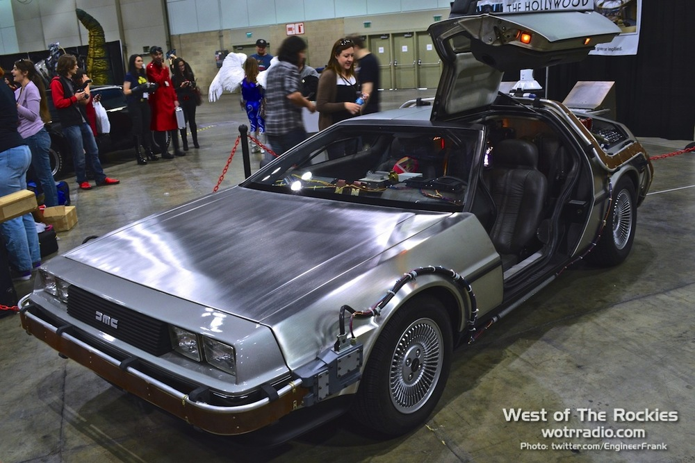 A DeLorean, as seen at  Comikaze 2014 . Supplied by  The Hollywood SciFi Museum.