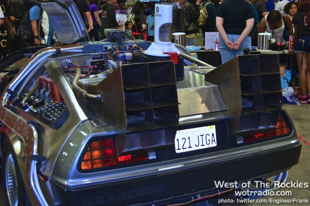 The rear end of the DeLorean, as seen at  Comikaze 2014 . Supplied by  The Hollywood SciFi Museum.
