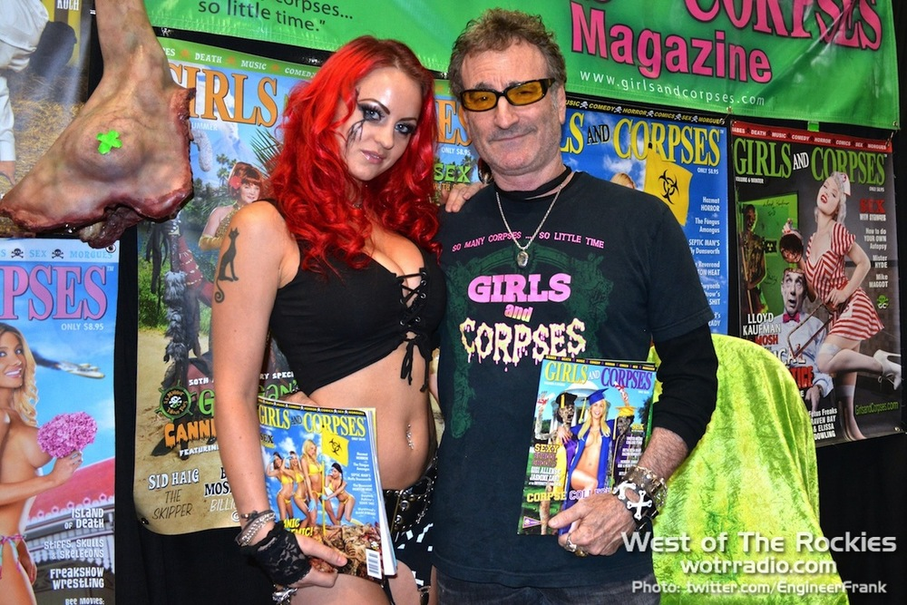 "Founder and ""Deaditor-In-Chief"" of  Girls and Corpses  Magazine, R.S. ""Corpsy"" Rhine with model/actress Sara Hedgren at Stan Lee's Comikaze Expo 2015."