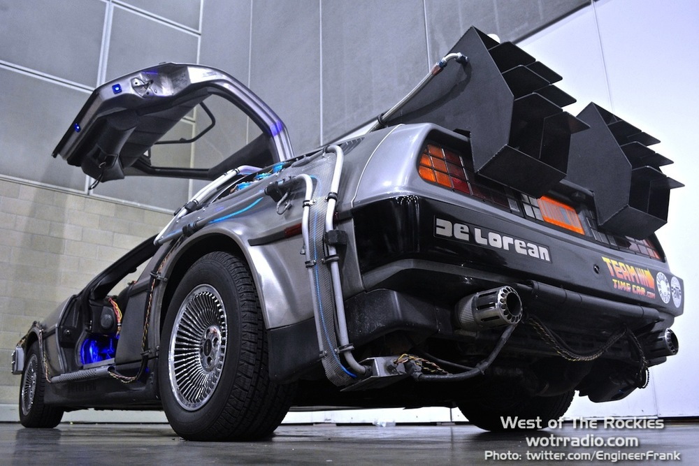 The famed De Lorean, fully equipped BTTF-style.