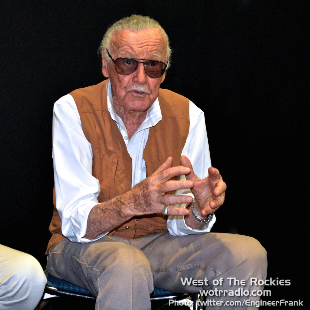 Stan Lee at the  SLKU  press conference, animatedly describing their upcoming children's publications.