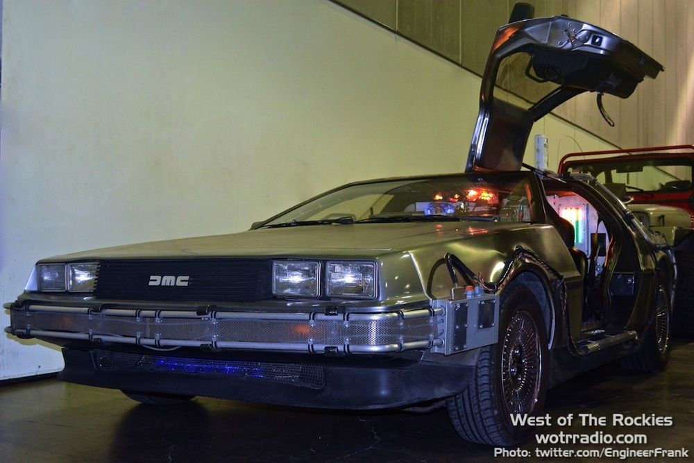 Front view of the DeLorean, fully-equipped BTTF style, at the www.teamtimecar.com booth.