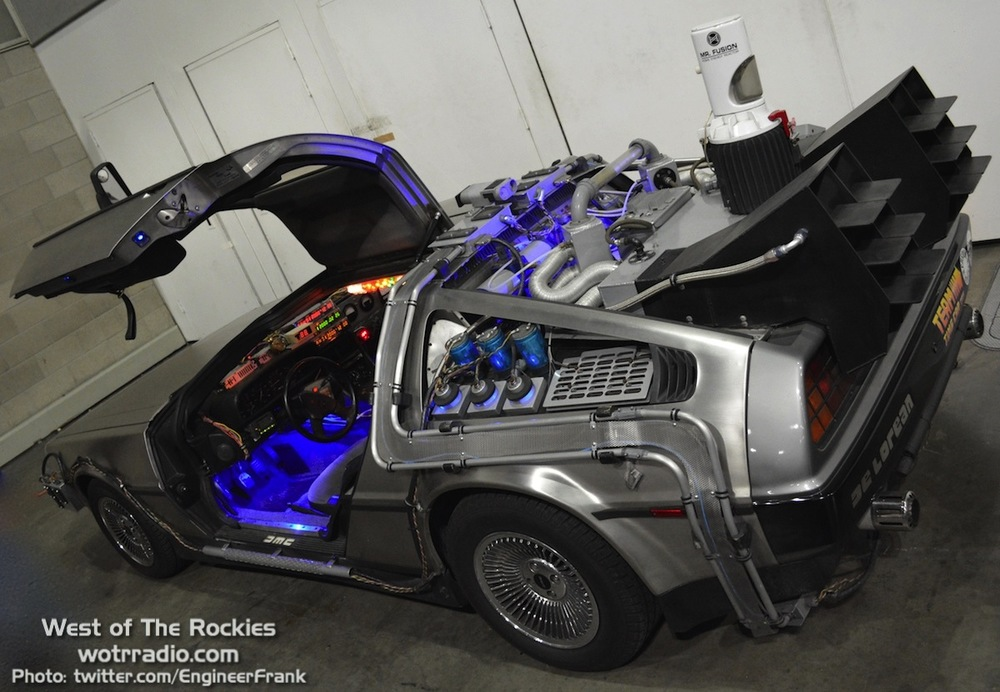 A great view of the DeLorean, fully-equipped BTTF style, at the www.teamtimecar.com booth.