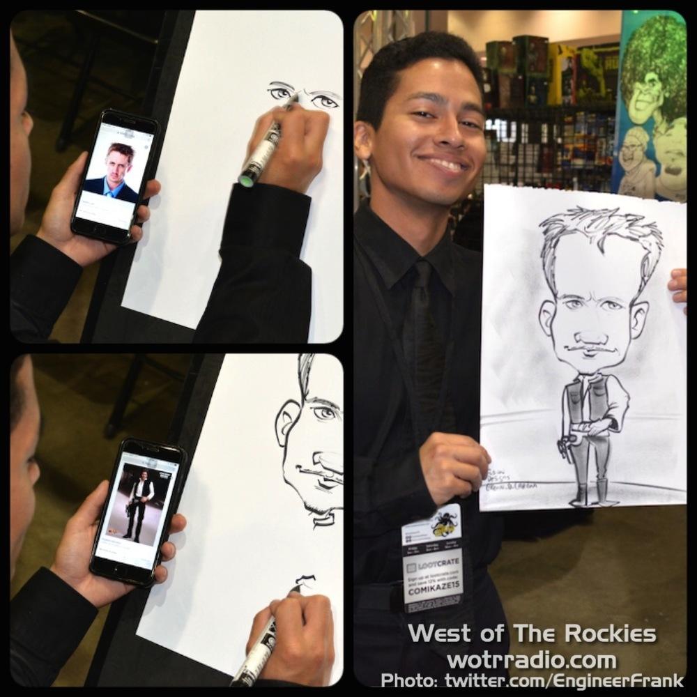 One of the many amazingly-skilled artists at the caricature booth,
