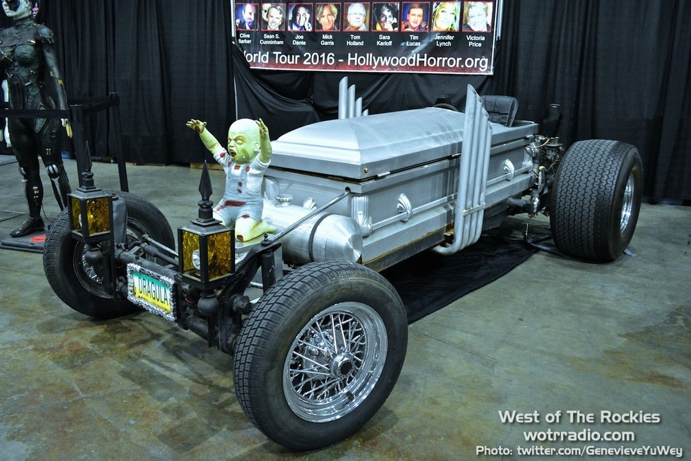 The DRAG-U-LA car from The Munsters, at the Hollywood Horror Museum booth.