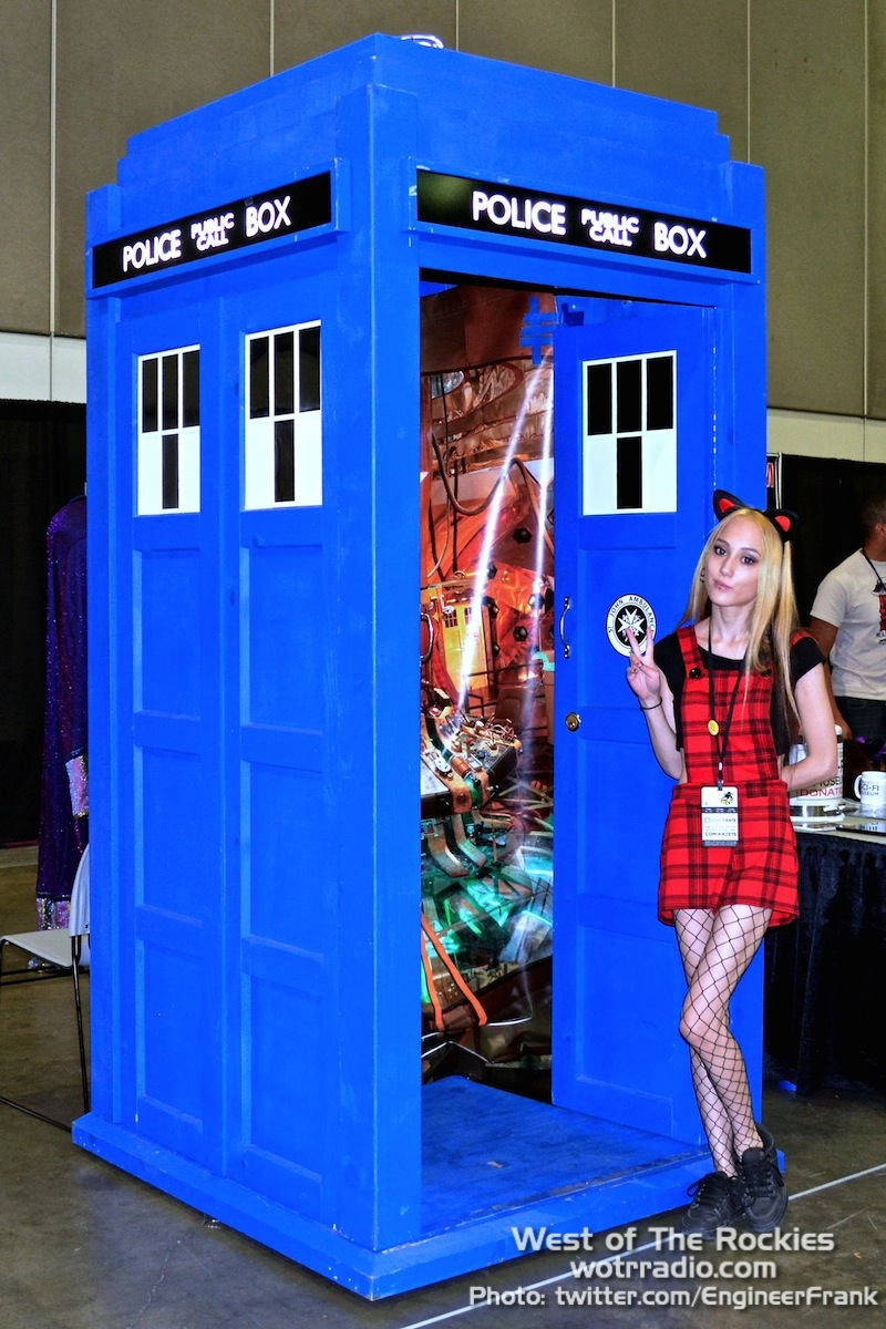 Genevieve hangin' out at the Tardis, chillin' Dr. Who style at the Hollywood Sci-Fi Museum booth.