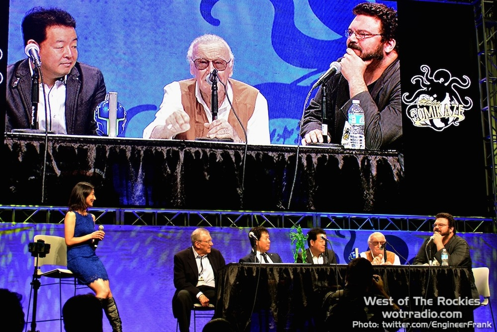 "Stan Lee et al. at the welcome speech, shortly before unveiling POW!'s and Studio Dean's brand-new series, ""The Reflection."""