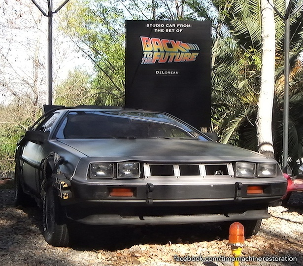 The DeLorean Time Machine, on display at Universal Studios on their Studio Tour, Los Angeles.