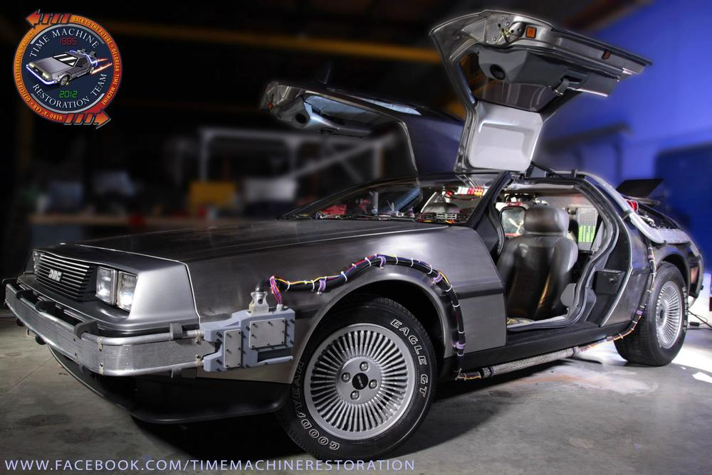 Another great shot of the fully-restored DeLorean Time Machine.