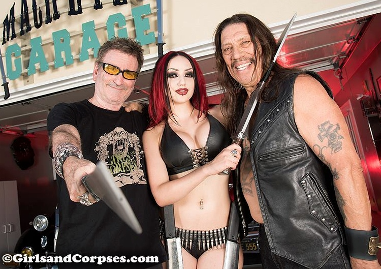 Corpsy with Dani Divine and Danny Trejo on the Girls and Corpses set. Photo courtesy of Girls and Corpses.
