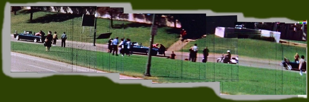 An interesting panorama of the JFK assassination, constructed by M.K. Davis from the Orville Nix film. Courtesy of M.K. Davis. Source: tinyurl.com/hpwl769