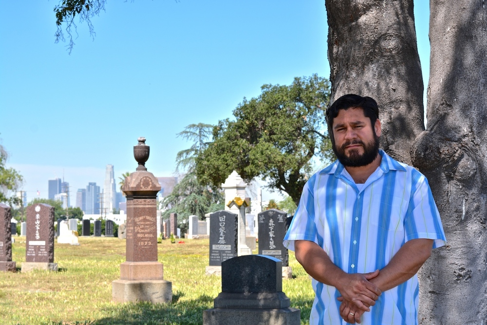 Mario Becerra at Evergreen Cemetery, East Los Angeles. Photo: Frank Argueta,  WoTR Radio 2016.
