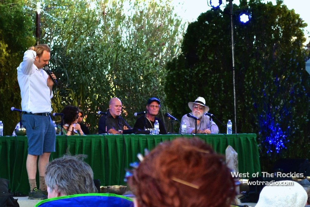 The Extraterrestrial Agenda Panel. Pictured from left to right: David Wilcock (host), Patty Greer, Robert Bauval, Brien Foerster, Jim Marrs (not pictured: Walter Cruttenden, Gordon Davidson).