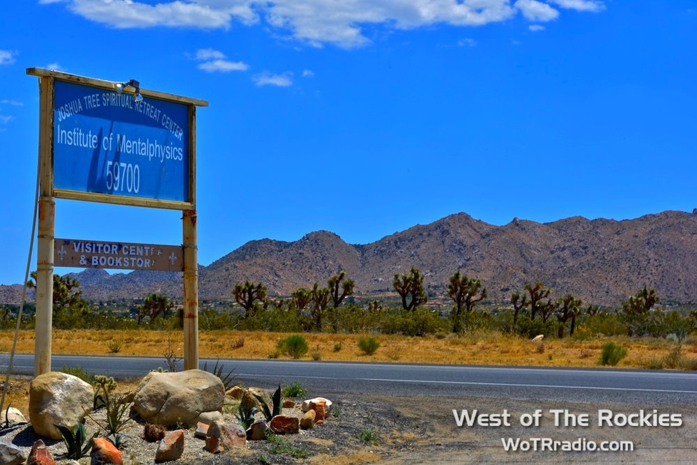 The entrance to the Joshua Tree Retreat Center right off of 29 Palms Highway in Joshua Tree, California.