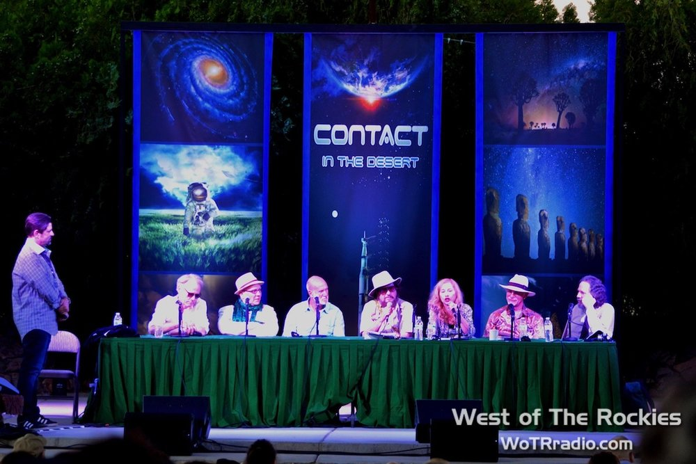 Panel - Forbidden Archeology: Ancient Civilizations & Their Stellar Connections, hosted by Jimmy Church. Pictured (from left to right) Jimmy Church, Graham Hancock, Andrew Collins, Robert Bauval, JJ Hurtak, Desiree Hurtak, Carl Lehrburger and Robert Schoch.